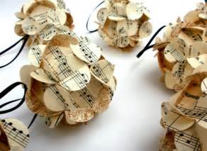 Handmade ball ornaments vintage upcycled music scores set of eight