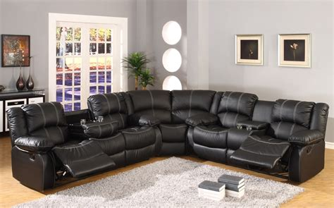 Faux Leather Sectional Sofa by Black Faux Leather Reclining Motion Sectional Sofa W