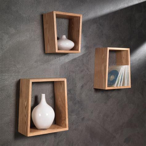scaffali a giorno set tre mensole brenda a parete in legno rovere
