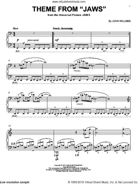 theme music to jaws williams theme from quot jaws quot intermediate sheet music