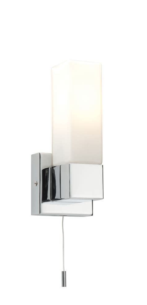 saxby square single bathroom wall light pull cord switch