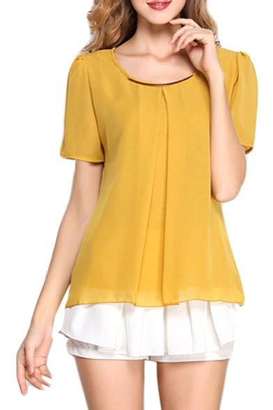 yellow sleeve pleated front chiffon blouse