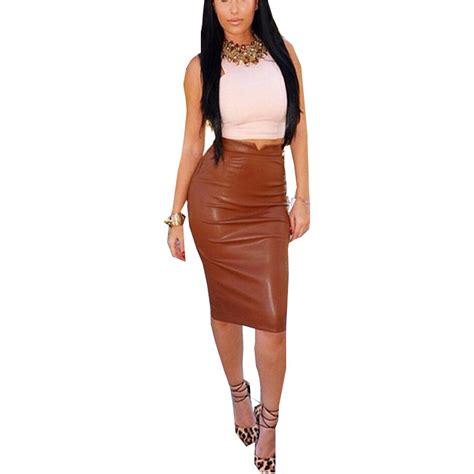 2016 autumn soft pu leather skirt high waist