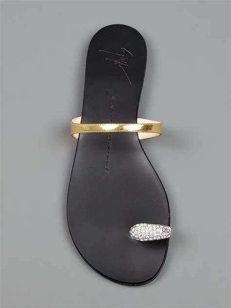 giuseppe zanotti toe ring sandal giuseppe zanotti toe ring sandal in metallic lyst