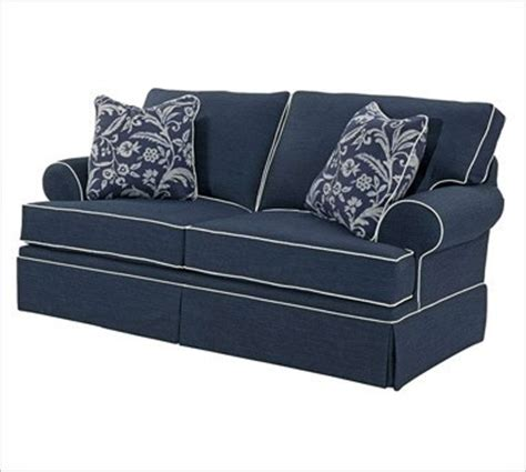 navy couch white piping broyhill emily 6262