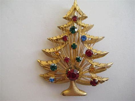 vintage brooks christmas tree rhinestone pin brooch book