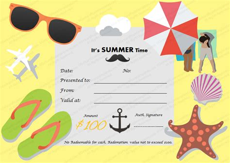 summer c certificate template summertime gift certificate template for summer holidays