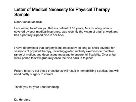 Letter Of Medical Necessity Letter Of Necessity For Physical Therapy Template
