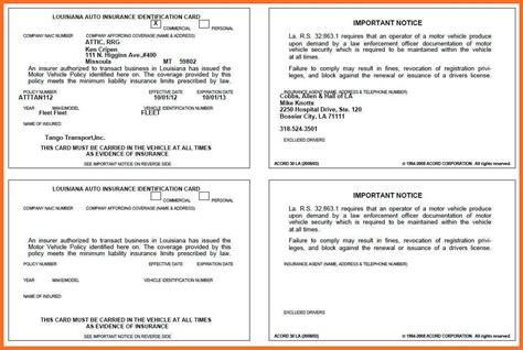 Florida Automobile Insurance Identification Card Template by Auto Insurance Card Template Business Plan Template