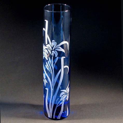 Blue Glass Bud Vase by Blue Bud Vase Etched Glass Vase Blue Stargazer By