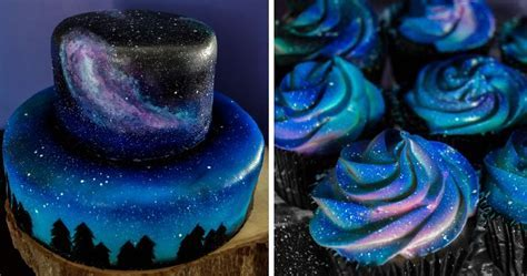 ?I Was Asked To Make A Galaxy Themed Cake And Cupcakes For