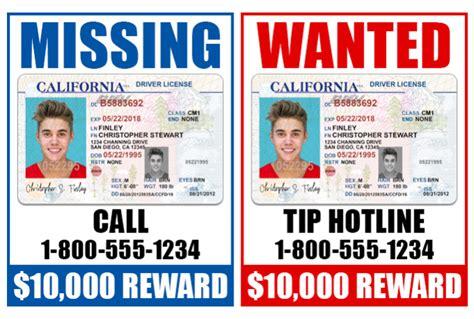 california drivers license template send 1 california drivers license photoshop templat
