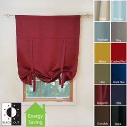 overstock kitchen curtains aurora home solid insulated 63 inch blackout tie up shade