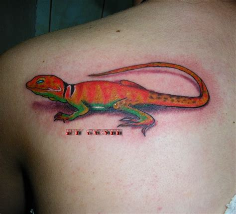 orange tattoo lizard images designs