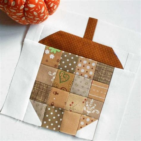 Free Patchwork Blocks - free quilt pattern scrappy 6 acorn block patchwork