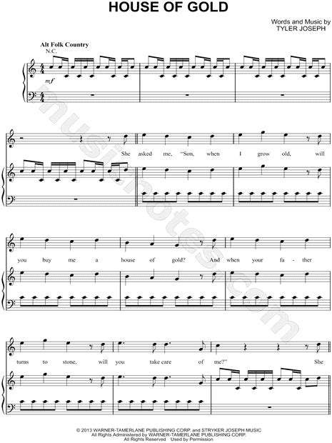 house of gold sheet music twenty one pilots quot house of gold quot sheet music in c major transposable download