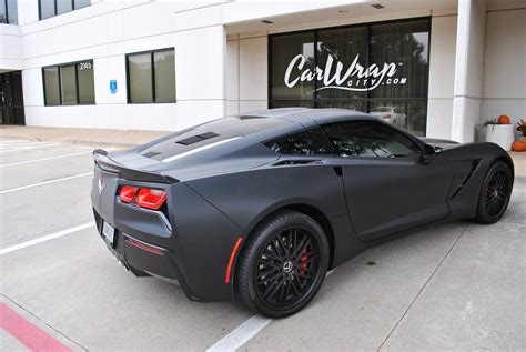 corvette stingray matte black matte black gunmetal stingray color change wrap car