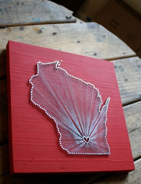 Nail And String State - wisconsin reclaimed wood nail and string