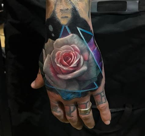 back of hand tattoo designs realistic pink white flower best