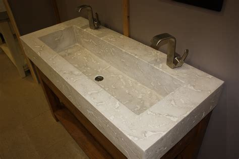 Undermount Trough Bathroom Sink With Two Faucets