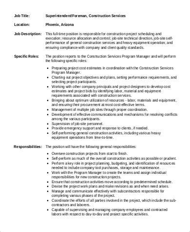 construction description 9 construction superintendent description sles