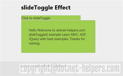 jquery toggle div slidetoggle effect in jquery dotnet helpers