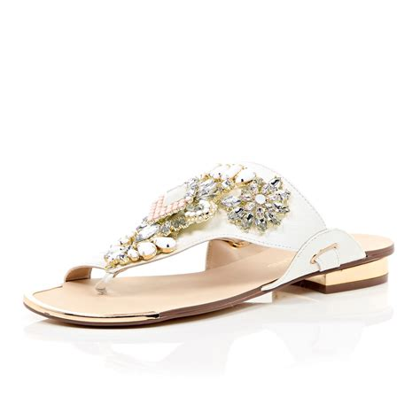 white embellished sandals river island white heavily embellished sandals in white lyst