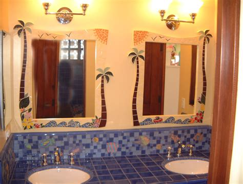easy bathroom decorating ideas decoration ideas - Tropical Mirrors Bathroom
