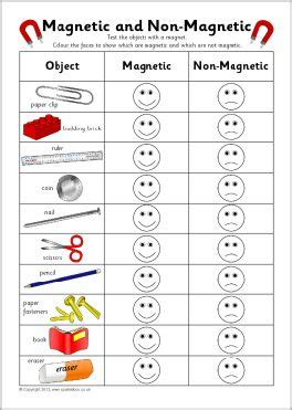 kindergarten activities magnets magnetic and non magnetic sorting record charts sb7407