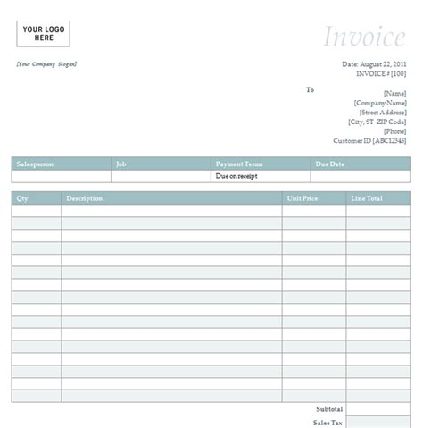 blank invoice template excel blank invoice template self employment exle of an