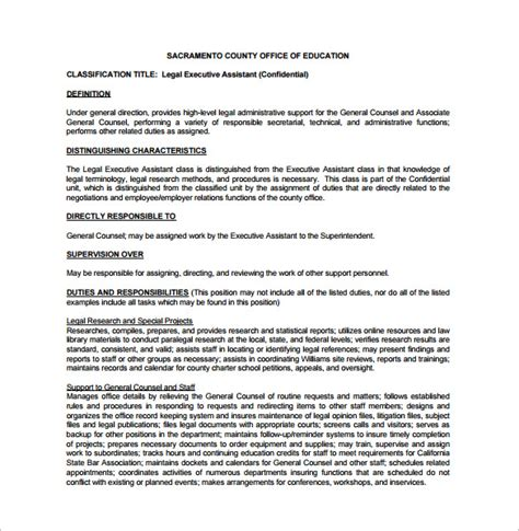executive administrative assistant description template executive assistant description template 8 free