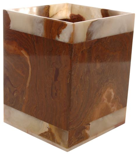 Amber Leaf Marble Wastebasket Southwestern Bathroom Southwestern Bathroom Accessories