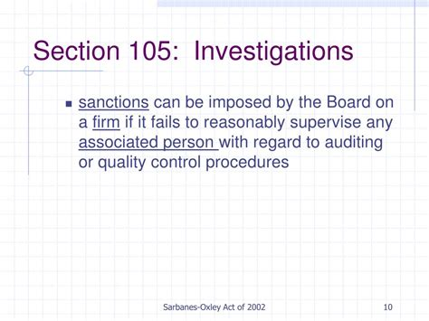 sarbanes oxley act section 201 ppt sarbanes oxley act of 2002 powerpoint presentation
