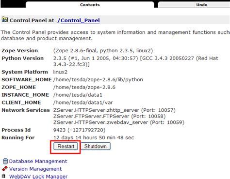 tutorial zope python plone tutorial how to restart your zope instance via zmi