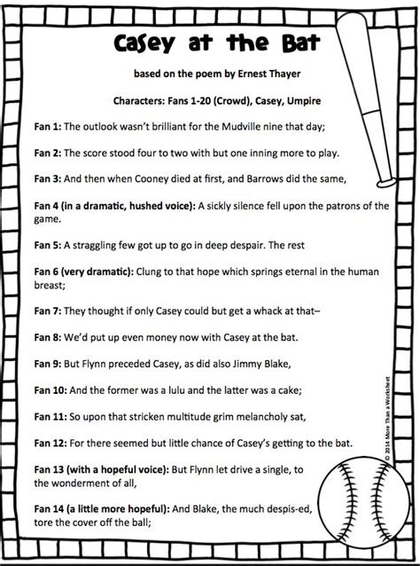 printable version of casey at the bat casey at the bat reader s theater script