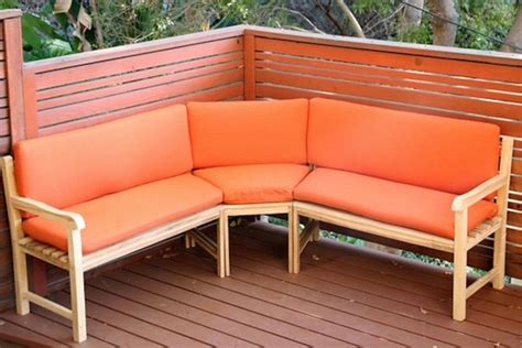outdoor teak sectional bench  sunbrella cushions
