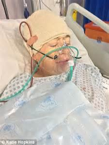 head shaved for surgery katie hopkins back tweeting from her hospital bed the day