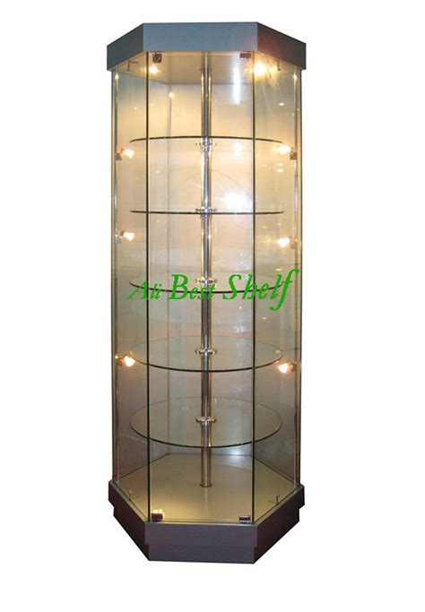 2014 Rotating Shelves Free Standing Tower Glass Showcase Lights Display 2014