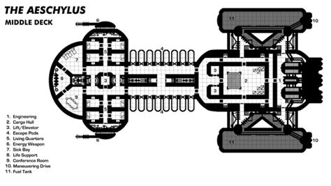 spaceship floor plans the aeschylus middle deck starships pinterest