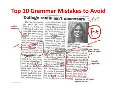 10 Mistakes To Avoid When Ppt Top 10 Grammar Mistakes To Avoid Powerpoint