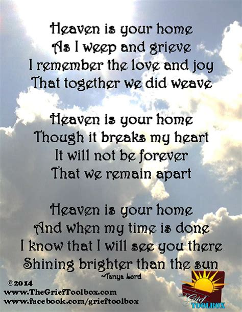 heaven is your home a poem the grief toolbox