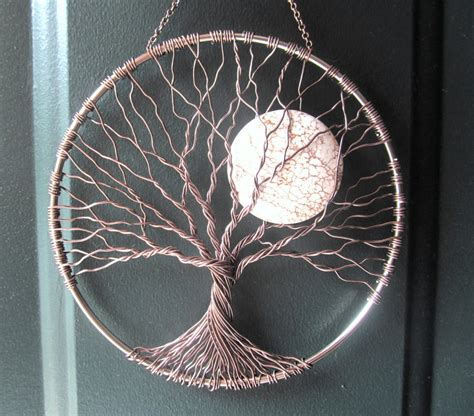 wire tree wall hanging home decor calming tree wire tree of life wall hanging sun catcher tree decor with howlite moon home