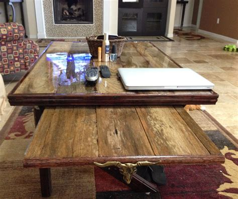 table with legs that slide resin top reclaimed wood coffee table with slide out tv