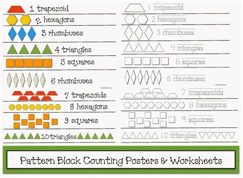 name of pattern block shapes classroom freebies counting with pattern blocks