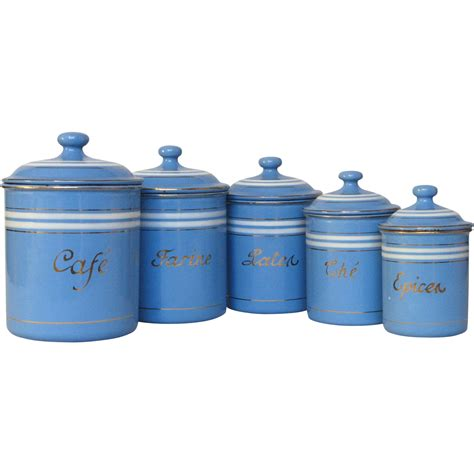 canisters kitchen set of sky blue enamel graniteware kitchen canisters from yesterdaysfrance on ruby