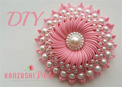 diy ribbon flower with beads grosgrain flowers with beads