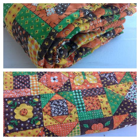 Fabric Patchwork - vintage pre quilted patchwork fabric retro