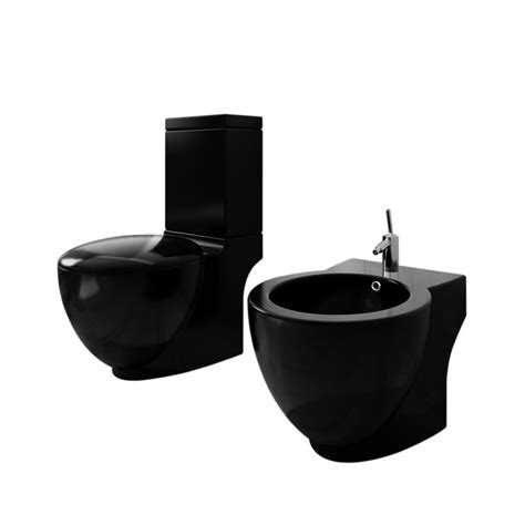 bidet set vidaxl co uk stand toilet bidet set black ceramic