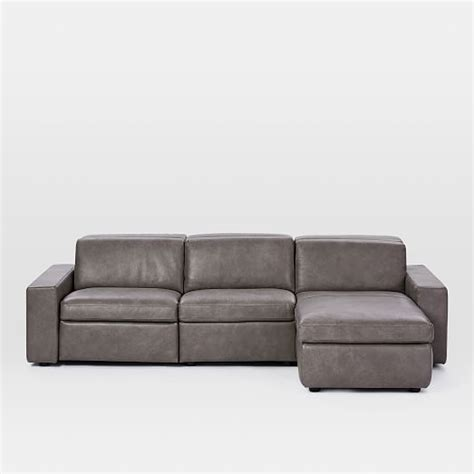 enzo sofa west elm enzo leather reclining 3 seater sectional with storage