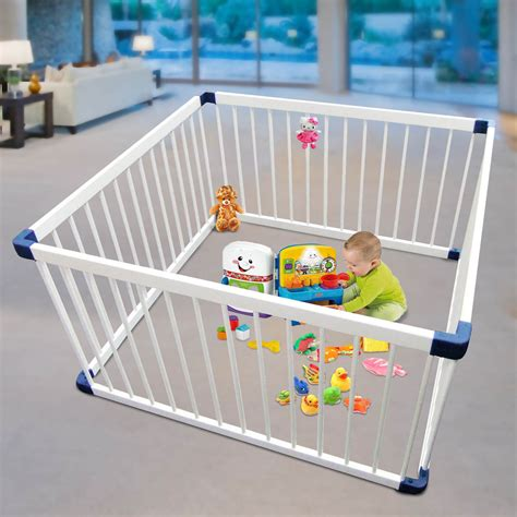 6 panel baby pen baby toddler deluxe white wooden playpen divider safety gate 4 panel square ebay